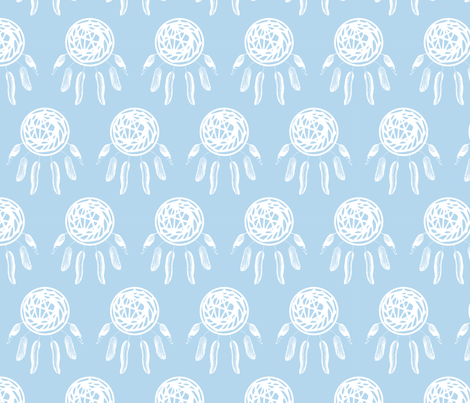 Dreamcatcher, blue fabric by michellegracedesign on Spoonflower - custom fabric