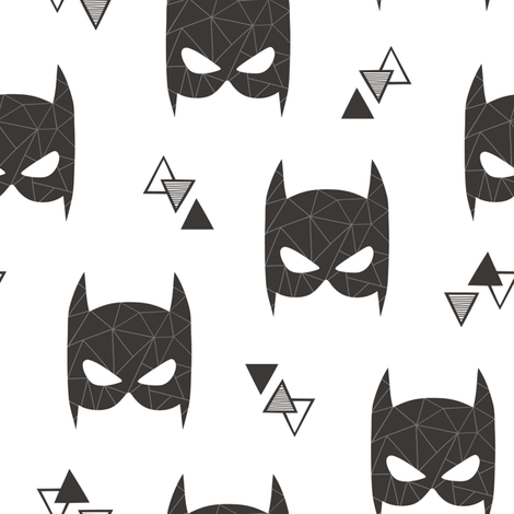Geometric Bat Mask Black & White with Triangles fabric by caja_design on Spoonflower - custom fabric
