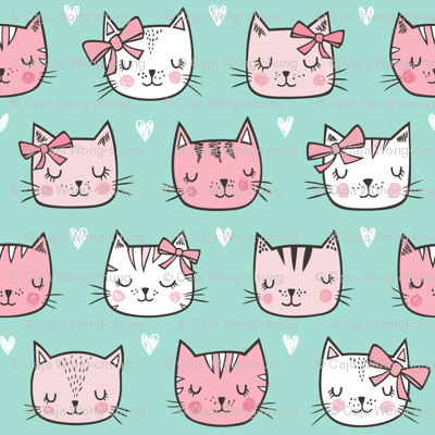 Pink Cat Cats  Faces with Bows and Hearts on Mint Green