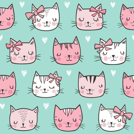 Pink Cat Cats  Faces with Bows and Hearts on Mint Green fabric by caja_design on Spoonflower - custom fabric