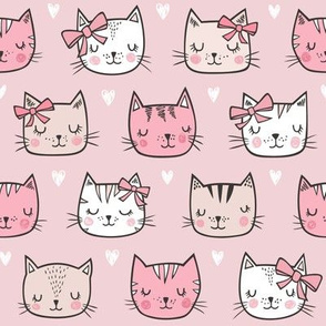 Pink Cat Cats  Faces with Bows and Hearts on  Pink