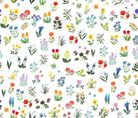 Beautiful flowers from 60s vintage illustration  - Alain Gree fabric by ricobel on Spoonflower - custom fabric