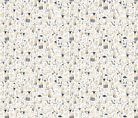 Fluffy White Sheep fabric by elena_o'neill_illustration_ on Spoonflower - custom fabric