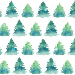 Watercolor Pine Trees