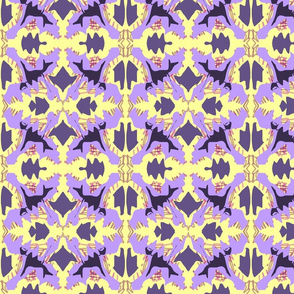 Abstract Crystal  in yellow and two purple