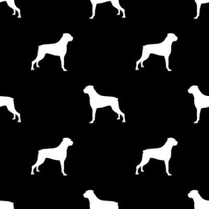 Boxer dog silhouette fabric pattern black