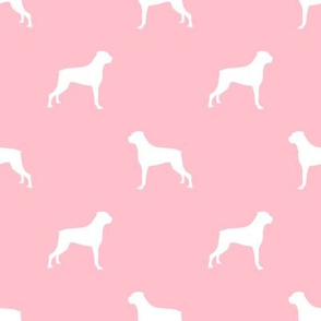 Boxer dog silhouette fabric pattern blossom pink