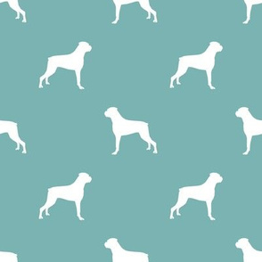 Boxer dog silhouette fabric pattern gulf blue