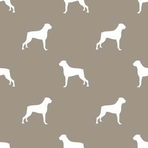 Boxer dog silhouette fabric pattern med brown