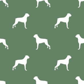 Boxer dog silhouette fabric pattern med green