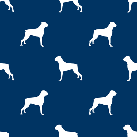 Boxer dog silhouette fabric pattern navy fabric by petfriendly on Spoonflower - custom fabric