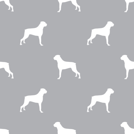 Boxer dog silhouette fabric pattern quarry fabric by petfriendly on Spoonflower - custom fabric