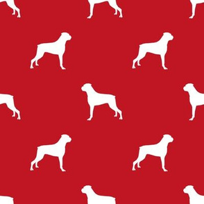 Boxer dog silhouette fabric pattern red