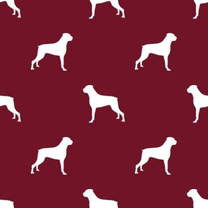 Boxer dog silhouette fabric pattern ruby