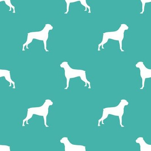 Boxer dog silhouette fabric pattern turquoise