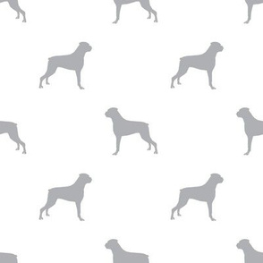 Boxer dog silhouette fabric pattern white grey