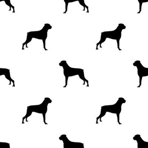 Boxer dog silhouette fabric pattern white