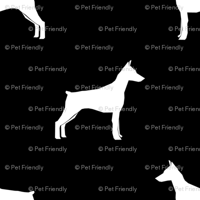 Doberman Pinscher silhouette dog fabric black and white