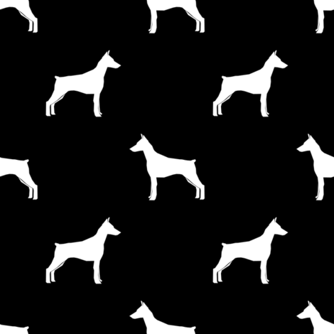 Doberman Pinscher silhouette dog fabric black and white fabric by petfriendly on Spoonflower - custom fabric