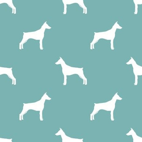 Doberman Pinscher silhouette dog fabric gulf blue