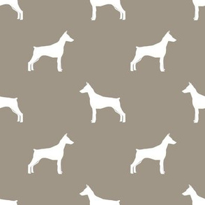 Doberman Pinscher silhouette dog fabric med brown