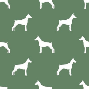 Doberman Pinscher silhouette dog fabric med green