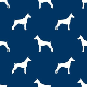 Doberman Pinscher silhouette dog fabric navy