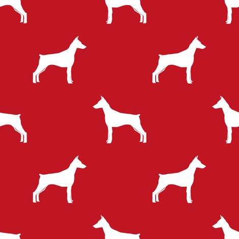 Doberman Pinscher silhouette dog fabric red fabric by petfriendly on Spoonflower - custom fabric