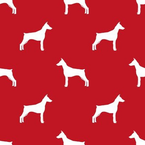 Doberman Pinscher silhouette dog fabric red
