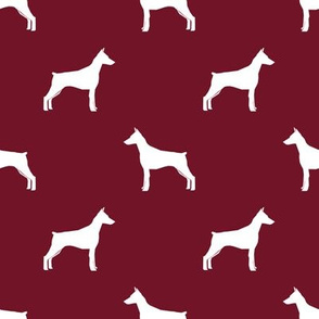 Doberman Pinscher silhouette dog fabric ruby