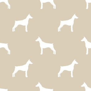 Doberman Pinscher silhouette dog fabric sand
