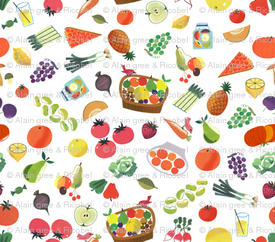 Cute Fruits and Vegetables from Vintage illustration - Alain Gree