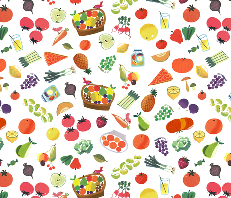 Cute Fruits and Vegetables from Vintage illustration - Alain Gree fabric by ricobel on Spoonflower - custom fabric