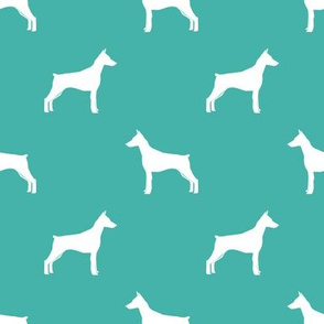 Doberman Pinscher silhouette dog fabric turquoise