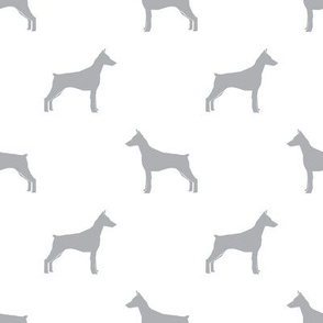 Doberman Pinscher silhouette dog fabric white quarry