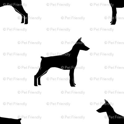 Doberman Pinscher silhouette dog fabric white