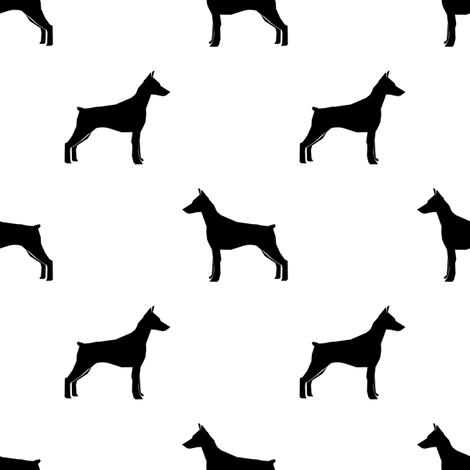 Doberman Pinscher silhouette dog fabric white fabric by petfriendly on Spoonflower - custom fabric