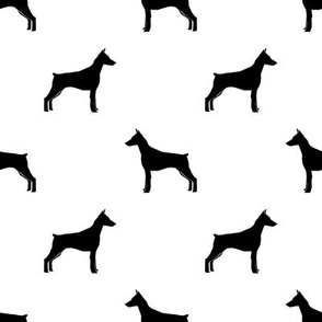 Doberman Pinscher silhouette dog fabric white