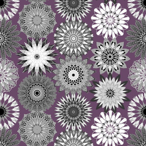Grayscale Floral Mandala Celebration