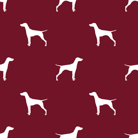 Vizsla dog fabric silhouette ruby fabric by petfriendly on Spoonflower - custom fabric