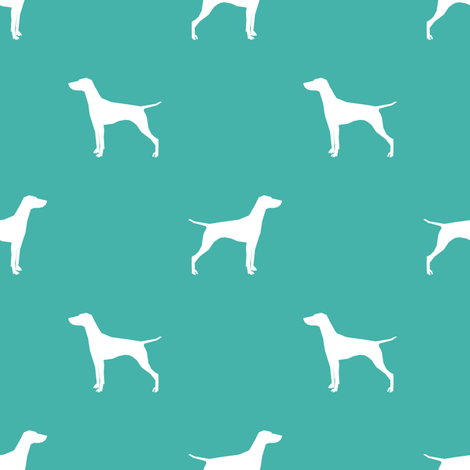 Vizsla dog fabric silhouette turquoise fabric by petfriendly on Spoonflower - custom fabric