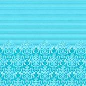 Damask on Stripes  Lite Aqua