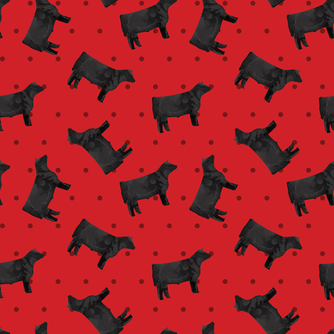 Polka Dot Steer - Red fabric by thecraftyblackbird on Spoonflower - custom fabric