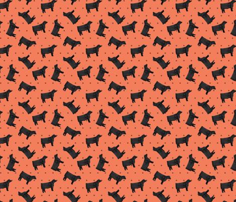 Polka Dot Steer - Coral fabric by thecraftyblackbird on Spoonflower - custom fabric