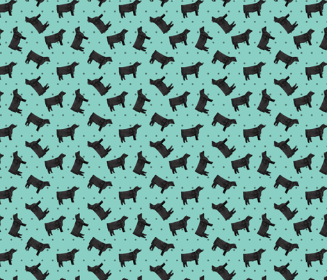Polka Dot Steer - Teal fabric by thecraftyblackbird on Spoonflower - custom fabric