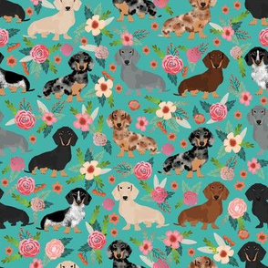 dachshund floral fabric dogs and flowers dog design