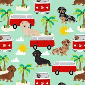 dachshund summer fabric hippie bus dog fabric palms - mint