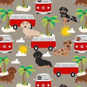 dachshund summer beach fabric - surfing, dog, palm trees - brown