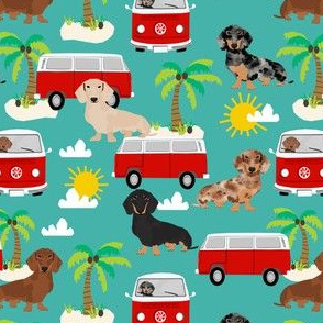 dachshund summer beach fabric - surfing, dog, palm trees - turquoise