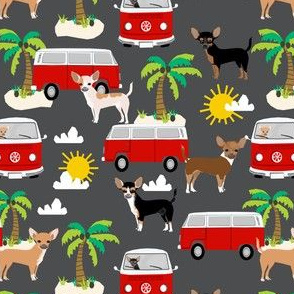 chihuahua summer beach fabric - surfing, dog, palm trees - charcoal